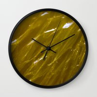 orange pattern Wall Clocks featuring Orange pattern by Svetlana Korneliuk