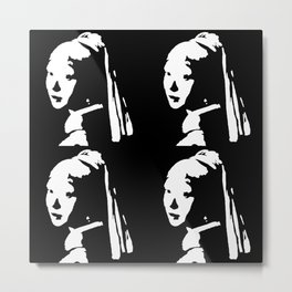 Black&White Pearl Earring Metal Print