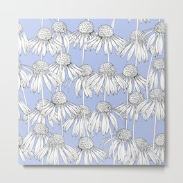 Realistic Daisy pattern on a blue background. Metal Print