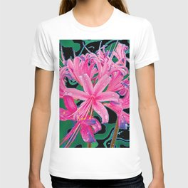 CORAL PINK LILY GARDEN FLOWERS PATTERN T-shirt
