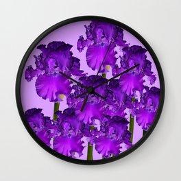 Contemporary Purple Iris Garden Art Wall Clock