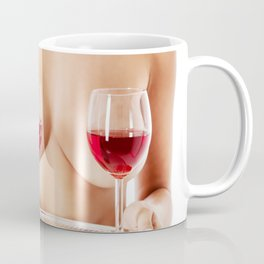 Exotic wine glasses covering breasts Coffee Mug