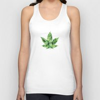 cannabis Tank Tops featuring Cannabis Leaf by Teo Sharkson