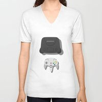nintendo V-neck T-shirts featuring Nintendo 64 by Di No