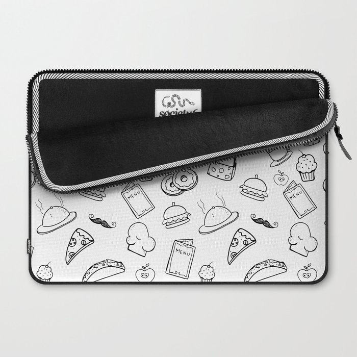 Food Food Black & White Laptop Sleeve