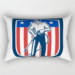American Pressure Washing USA Flag Shield Retro Rectangular Pillow