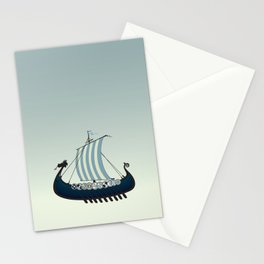 Blue viking ship Stationery Cards