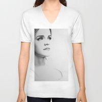 emma watson V-neck T-shirts featuring Emma Watson Minimal Drawing by Ileana Hunter