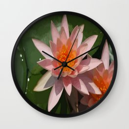 Beautiful Peach Waterlily Vector Wall Clock