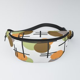 Atomic Age Molecules 2 Chartreuse Brown Orange Fanny Pack