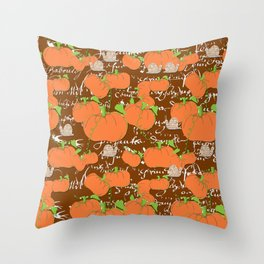 A French Pumpkin Patch Throw Pillow