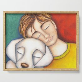 A Boy And His Dog Original Art Portrait Serving Tray