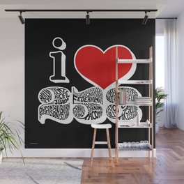 I Love 253 Black and Red Wall Mural