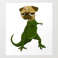 Pugasaurus!! Art Print