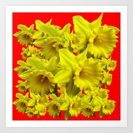 YELLOW SPRING DAFFODILS ON CHINESE RED ART Art Print