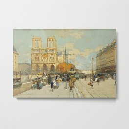 Figures on a Sunny Parisian Street, Notre Dame by Eugene Galien Laloue Metal Print