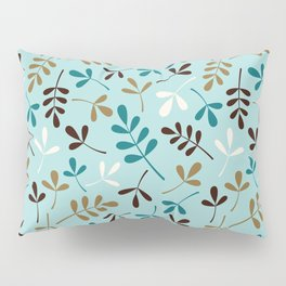 Assorted Leaf Silhouettes Teals Cream Brown Gold Ptn Pillow Sham