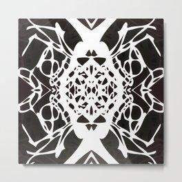 Black and White Ink Blot Metal Print