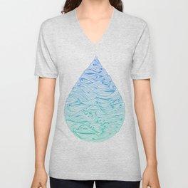 Water Drop – Blue Ombré Unisex V-Neck