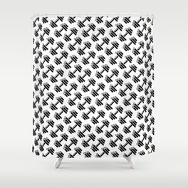 Dumbbellicious / Black and white dumbbell pattern Shower Curtain