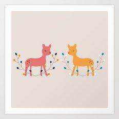 deer fun Art Print
