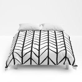 black and white modern hand drawn herringbone chevron pattern Comforters