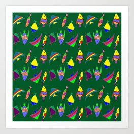 FISHES ON GREEN Art Print