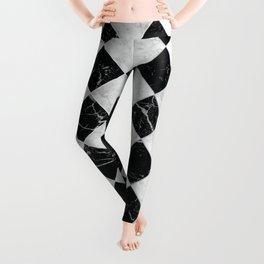 Cubic Black & White Marble #895 Leggings