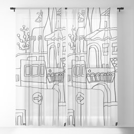 Mediterranean Lifestyle And Architecture Sheer Curtain