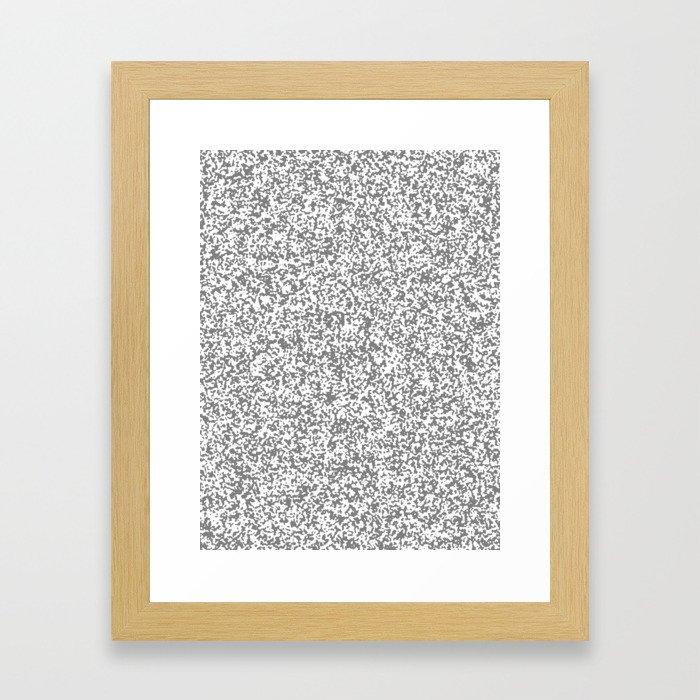 Tiny Spots - White and Gray Framed Art Print