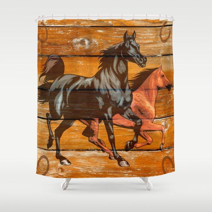 Horses Horseshoes Barn Wood Cowboy Shower Curtain By Marios