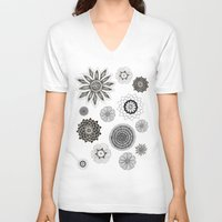 flower pattern V-neck T-shirts featuring Flower pattern by Noah's ART