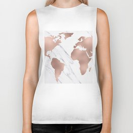 Marble World Map Rose Gold Pink Biker Tank