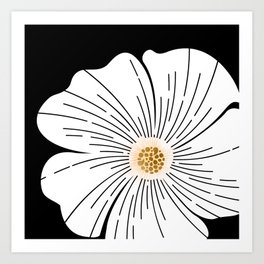Black and White Blossom Art Print