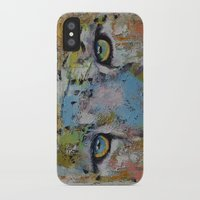 snow leopard iPhone & iPod Cases featuring Leopard by Michael Creese