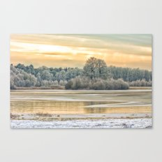 Walk on the winter lake Canvas Print