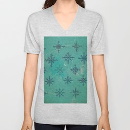 Winter Snowflakes - Blue on Aqua Unisex V-Neck