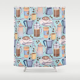 Coffee Love on Blue Shower Curtain