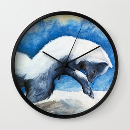 Animal - Antoine the Artic Fox - by LiliFlore Wall Clock
