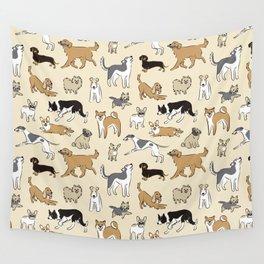 Dogs Fun Beige Wall Tapestry