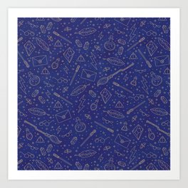 Yer a Wizard - Blue + Bronze Art Print
