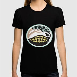 Golden Plover Looking Up Tree Oval Tribal Art T-shirt
