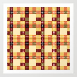 Plaid White Stitch Yellow And Brown Lumberjack Flannel Art Print