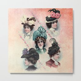 Victorian Ladies Hats Fashion Show Metal Print