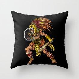Aztec Jaguar Warrior Indian Native Mexican Throw Pillow