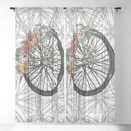 Floral Bicycle Wheel Bike Sheer Curtain