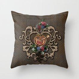 Wonderful steampunk hearts Throw Pillow