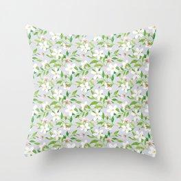 Jasmine Delight Silver Throw Pillow