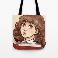 hermione Tote Bags featuring Young Hermione by Kata (koomalaama)