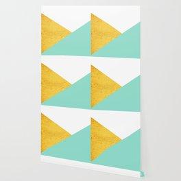 Gold & Aqua Blue Geometry Wallpaper
